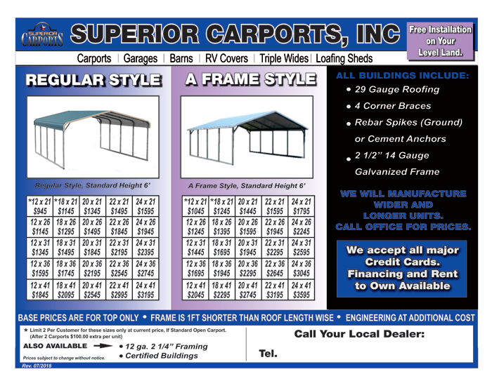 Carports - Regular Style & A Frame_Page_1